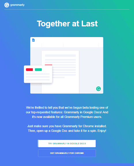 Email For Grammarly in Google Docs beta testing