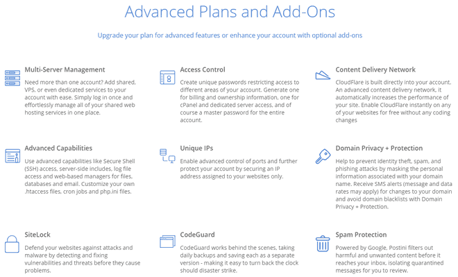 bluehost advanced features