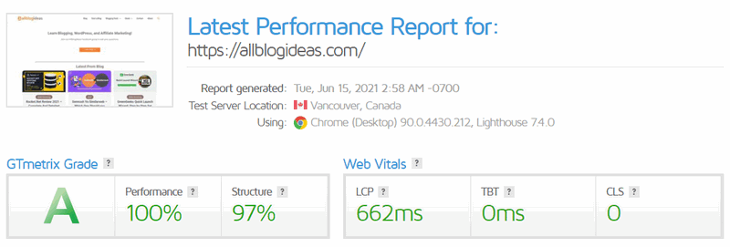 all blog ideas gtmatrix performance report