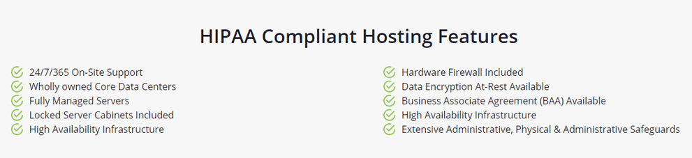 HIPAA Compliant Hosting Features